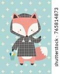 little fox in the raincoat.... | Shutterstock .eps vector #765814873