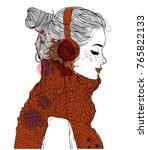 beautiful girl with headphones   Shutterstock .eps vector #765822133