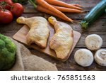 raw chicken legs with mixed... | Shutterstock . vector #765851563