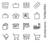 thin line icon set   shop ... | Shutterstock .eps vector #765863983