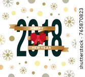2018 happy new year on flat... | Shutterstock .eps vector #765870823