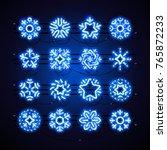 set of blue christmas neon...   Shutterstock .eps vector #765872233