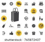 shopping paper bag vector icon...