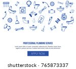 plumbing header banner with... | Shutterstock .eps vector #765873337