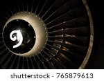 Small photo of Turbo-jet engine of the plane, close up, engine blades of turbo jet engine for passenger plane, aircraft concept, aviation and aerospace industry