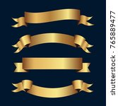 set of golden ribbons vector. | Shutterstock .eps vector #765889477