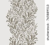 Stock vector floral vector border decor on light grey background 765889513