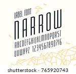 italic narrow sans serif font.... | Shutterstock .eps vector #765920743