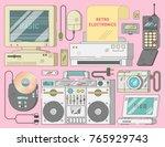 retro vintage electronics set... | Shutterstock .eps vector #765929743
