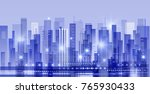 night city illustration with... | Shutterstock . vector #765930433
