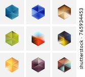 set of nine abstract vector... | Shutterstock .eps vector #765934453