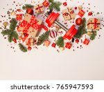 christmas or new year on a... | Shutterstock . vector #765947593