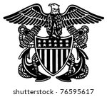 navy officer crest   retro ad... | Shutterstock .eps vector #76595617