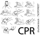 emergency first aid cpr... | Shutterstock .eps vector #765959857