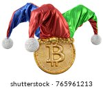 gold coin with bitcoin sign in... | Shutterstock . vector #765961213