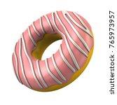 pink donut 3d illustration on... | Shutterstock . vector #765973957