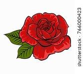 red rose. isolated flower on... | Shutterstock .eps vector #766000423