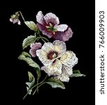 vintage orchid embroidery...   Shutterstock .eps vector #766009903