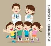 doctor and lovely kids.doctor... | Shutterstock .eps vector #766030843
