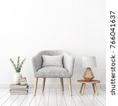 livingroom interior wall mock...   Shutterstock . vector #766041637