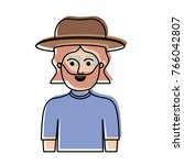 man half body with hat and... | Shutterstock .eps vector #766042807