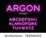glowing neon typeface design.... | Shutterstock .eps vector #766046203