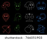 flat simple image with zodiac... | Shutterstock .eps vector #766051903