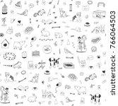 Stock vector pet shop animals cute cartoon line doodle vector seamless pattern 766064503
