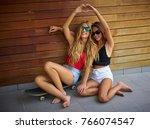 best friends teen girls on...   Shutterstock . vector #766074547
