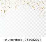 golden confetti isolated.... | Shutterstock .eps vector #766082017