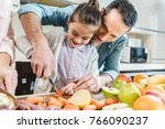 happy father with daughter... | Shutterstock . vector #766090237