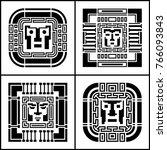 a set of digital pixel cyber... | Shutterstock .eps vector #766093843