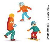 boys having fun in winter   ice ... | Shutterstock .eps vector #766094017