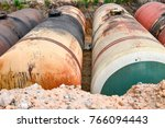 large tank for gasoline in the... | Shutterstock . vector #766094443