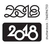 happy new year 2018 text design ... | Shutterstock .eps vector #766096753