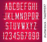 glowing red neon casual script... | Shutterstock .eps vector #766099597