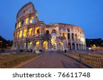 Rome, Italy - The famous Coliseum (or Colosseum) by night - stock photo