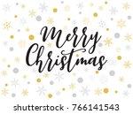 hand lettering merry christmas... | Shutterstock .eps vector #766141543