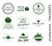 set of nine badges new year... | Shutterstock .eps vector #766160893