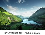 aerial view on lungernsee lake  ... | Shutterstock . vector #766161127
