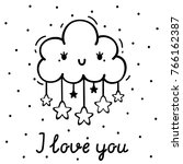 coloring with cute cloud and... | Shutterstock .eps vector #766162387
