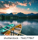 colorful summer sunrise ... | Shutterstock . vector #766177867