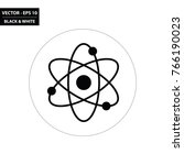 atom black and white flat icon. ... | Shutterstock .eps vector #766190023