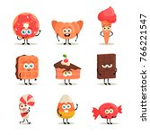 funny cartoon characters ... | Shutterstock .eps vector #766221547