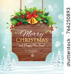 christmas greeting card with... | Shutterstock .eps vector #766250893