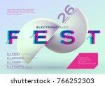 vector minimal dj poster.... | Shutterstock .eps vector #766252303
