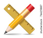 Pencil, ruler. Vector illustration. - stock vector