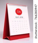 simple desk calendar for april... | Shutterstock . vector #766283947