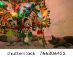 decorated indoor christmas tree ...   Shutterstock . vector #766306423