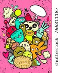 hipster hand drawn crazy doodle ... | Shutterstock .eps vector #766311187